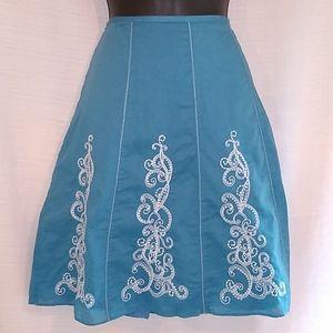 Ann Taylor Petites Blue White A-Line  Skirt Sz 2p.